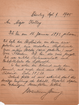 A letter that Kelley received from Göring at Nuremberg