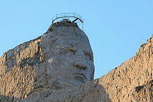 The head of the Crazy Horse Monument