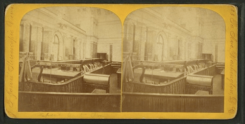 A stereoscopic view of the Old Senate Chamber — home of the U.S. Supreme Court in 1893
