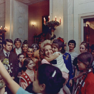 First Lady Pat Nixon greets White House visitors in 1969.